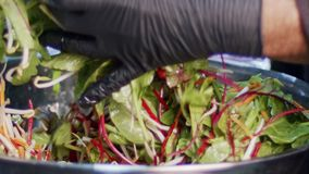 Green salad prepared in slow motion with carrots, leafs, lattuce and sprouts stock video