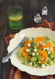 Green salad with pumpkin, feta and almonds Stock Image