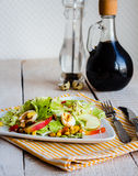 Green salad with quail eggs, corn and sweet apple Stock Photo