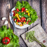 Green salad and recipe book Stock Image