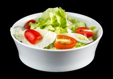 GREEN SALAD with reflection isolated on black background stock photos