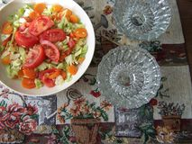Green salad served with copy space Royalty Free Stock Images
