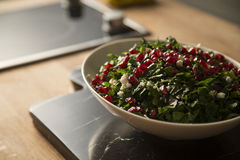 Green salad. Served with pomegranate stock photos