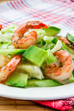 Green salad with shrimp and avocado Stock Image