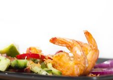 Green salad with shrimps Royalty Free Stock Images