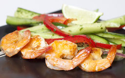 Green salad with shrimps Stock Images