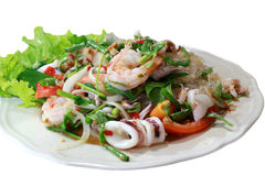 Green salad with shrimps, border isolated Royalty Free Stock Images