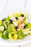 Green Salad with Shrimps on Light White Background, Healthy Eating Concept, Paleo Diet Stock Photography