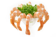 Green salad with shrimps Royalty Free Stock Image