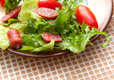 Green salad with smoked sausage Royalty Free Stock Image