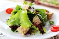 Green salad with strawberry pieces and a dressing of orange juic. Green salad with strawberry pieces stock photography