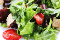Green salad with strawberry pieces. And a dressing of orange juice royalty free stock image