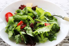 Green salad with strawberry pieces and. A dressing of orange juice Royalty Free Stock Image