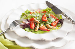 Green salad with strawberry Royalty Free Stock Photos