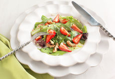Green salad with strawberry Royalty Free Stock Images