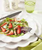 Green salad with strawberry Stock Photography