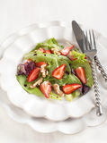 Green salad with strawberry Royalty Free Stock Photo