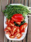 Green Salad to serve to with BBQ. Tomato red pepper onion and cucumber other green vegetables Stock Images