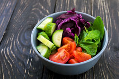Green salad with  tomato, red cabbage, cucumber and spinach Royalty Free Stock Images