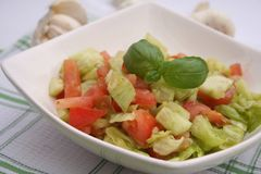 Green salad with tomatoes Royalty Free Stock Images