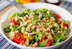 Green salad with tomatos and croutons Stock Photo