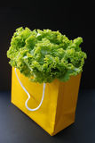 Green salad in a tote bag Stock Photo