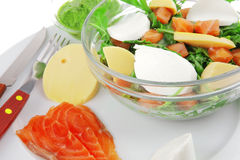 Green salad in transparent bowl Royalty Free Stock Images