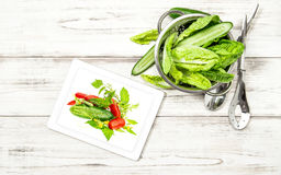 Green salad vegetables with recipe book tablet pc Stock Photography