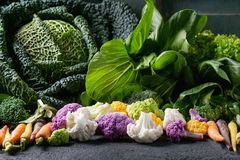 Green Salads, Cabbage, Colorful Veggies Royalty Free Stock Image