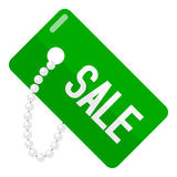 Green Sale Tag Flat Icon Isolated on White Stock Photography