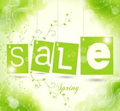 Green sale tags with shadow Royalty Free Stock Image