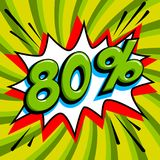 Green sale web banner. Sale eighty percent 80 off on a Comics pop-art style bang shape on green twisted background. Big Stock Photo