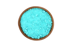 Green salt crystals in a wooden bowl Royalty Free Stock Image
