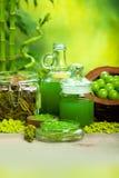 Green salt and oils - aromatherapy Stock Image