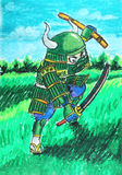 Green samurai drawing. Background Stock Photos