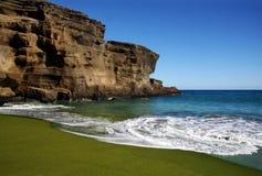 Green sand beach. On Big island, Hawaii Royalty Free Stock Image
