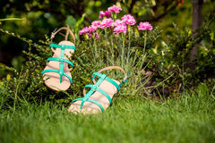 Green sandals lie on the grass, ladies comfortable shoes. A Stock Photo