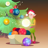Green Santa Elf Helper Decorate Christmas Tree Greeting Card Decoration Happy New Year Banner Royalty Free Stock Photos