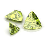Green Sapphire trilliant cutting. Background diamond shape illustration 3D rander vector illustration