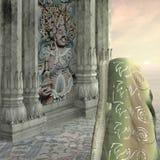 Green saree. Woman with green saree in a indian palace Royalty Free Stock Photos