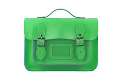 Green Satchel. Isolated on a white background Royalty Free Stock Photography