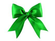 Green satin gift bow Stock Photo