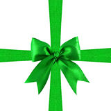 Green satin gift bow Royalty Free Stock Photography