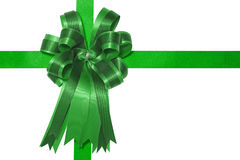 Green satin gift bow Stock Images