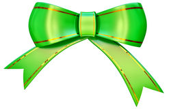 Green satin gift bow Stock Photo