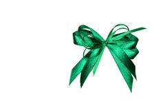 Green satin gift bow. Ribbon. Isolated on white Royalty Free Stock Photos
