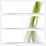 Green satin lines web footers collection Stock Photography