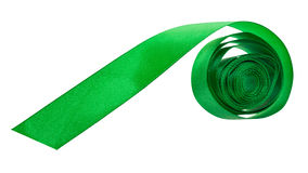Green satin packing tape isolated on white Stock Photography