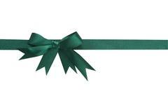 Green satin ribbon Stock Photos