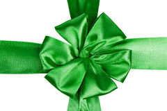 Green satin ribbon with bow Stock Images
